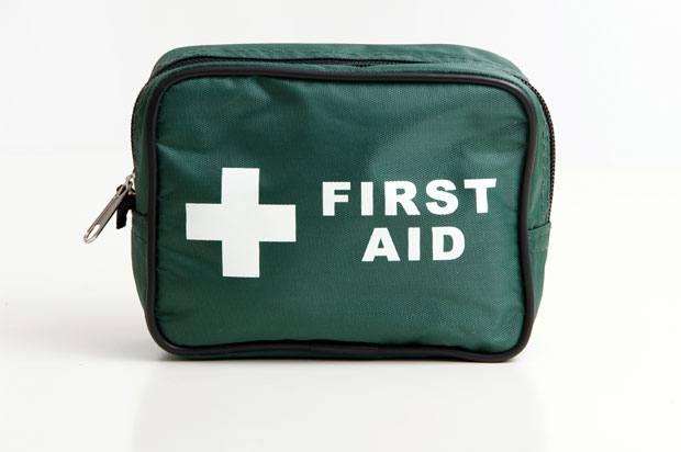 A green first aid bag