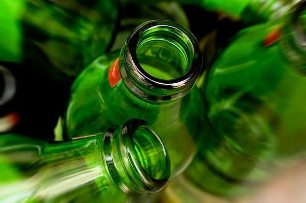 Glass green beer bottles