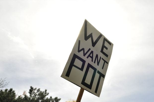 Protesters sign saying 'We want Pot'