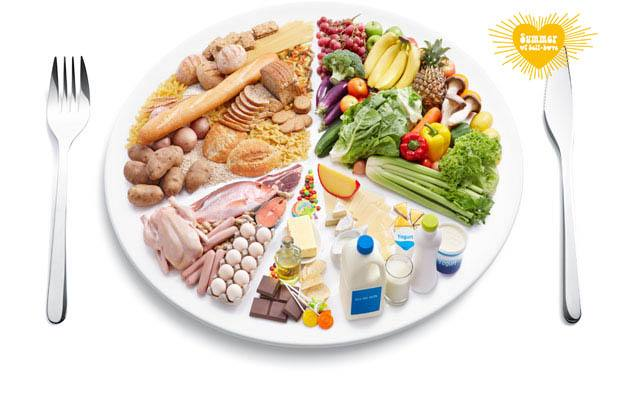 Picture of a plate showing a balanced diet; with vegetables, fruit, meat, dairy and some sweets.