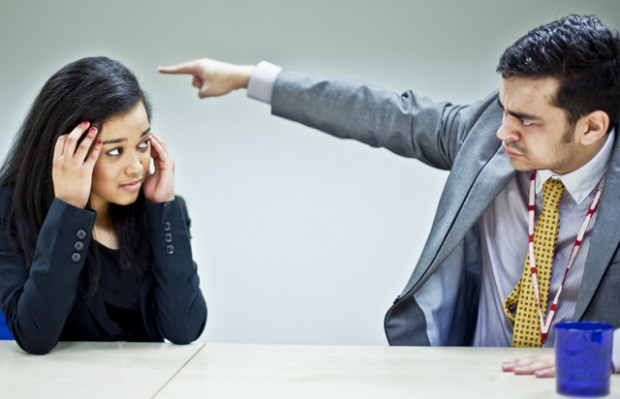 Girl being shouted at by her boss