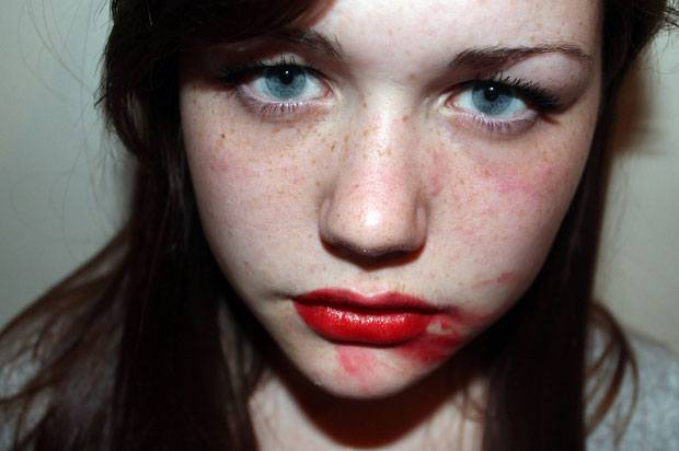 girl with smeared lipstick