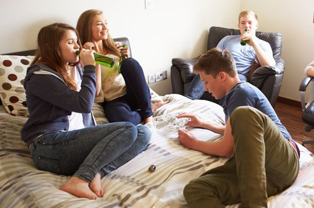 group of teens drinking