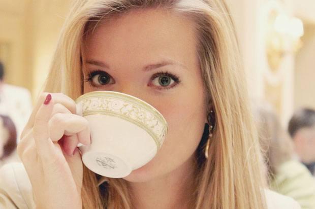 intern drinking tea