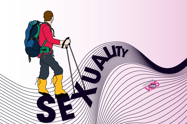 Illustration of a hiker hiking over the words sexuality