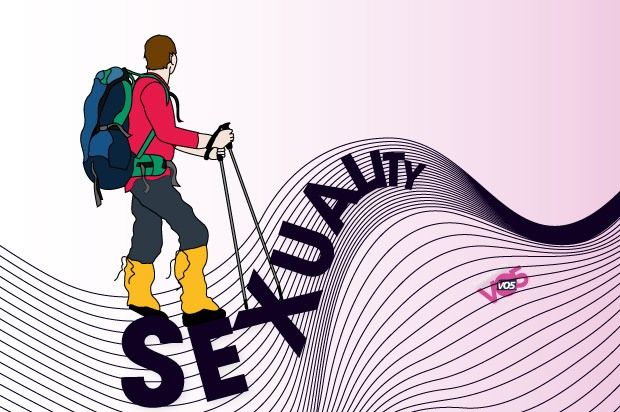 "Illustration of a teen hiking over the word ""sexuality"""