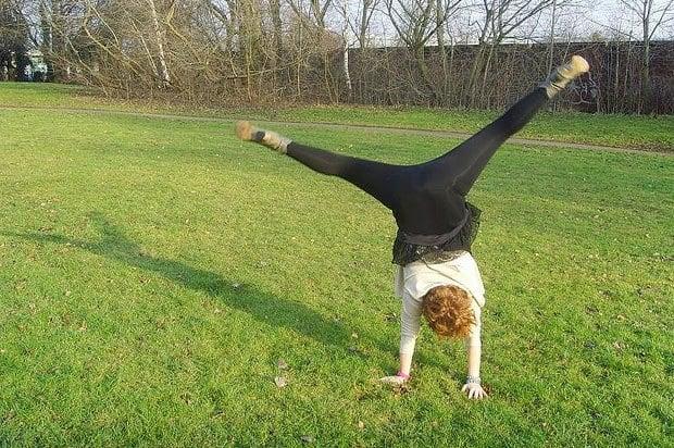 Girl doing a cartwheel