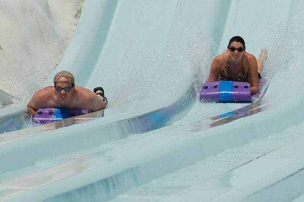 couple on waterslide
