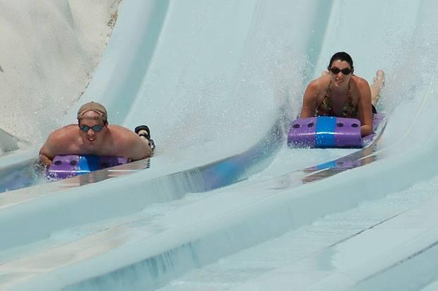 couple on waterslide