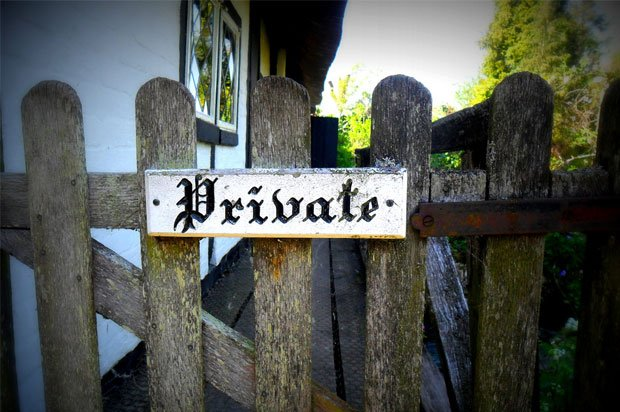 gate with 'private' notice on it