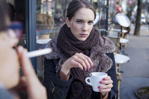 girl angry at smoker
