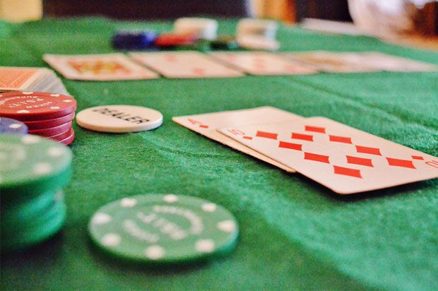 picture of poker table cards and chips
