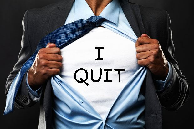 Man quitting joke on his suit