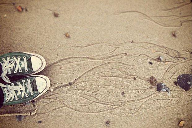 Someone's converse on a sandy beach