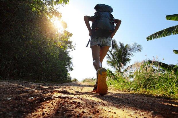girl treking alone