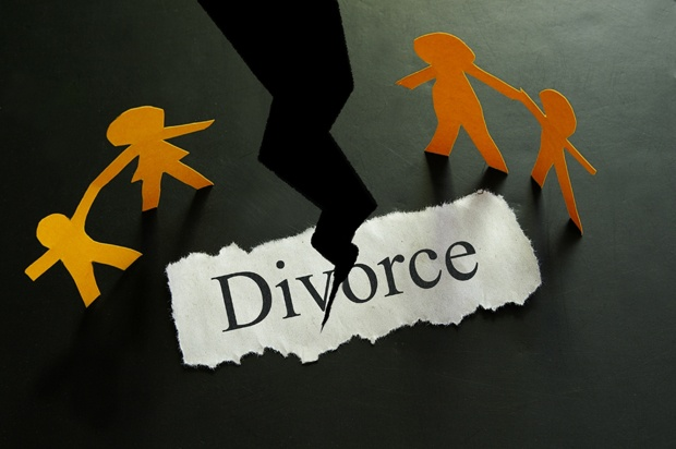 Paper with the word divorce written on it, and a split down the middle.