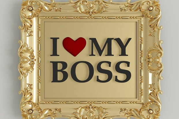 'I love my boss' written in a photo frame