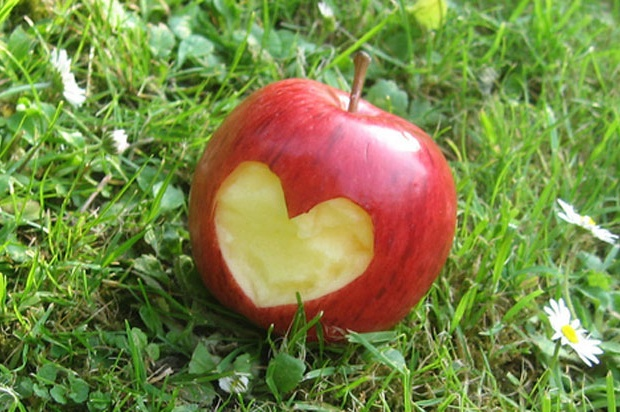 apple with heart carved out