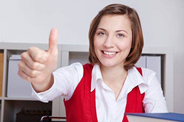 Employer with thumbs up