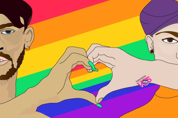 Illustration of same sex couple holding hands up together ina heart shape with a rainbow background