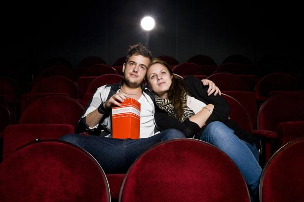 a couple alone in the cinema