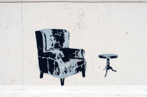 graffiti image of a armchair and coffee table