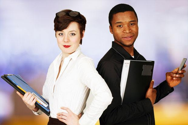 young businessman and woman