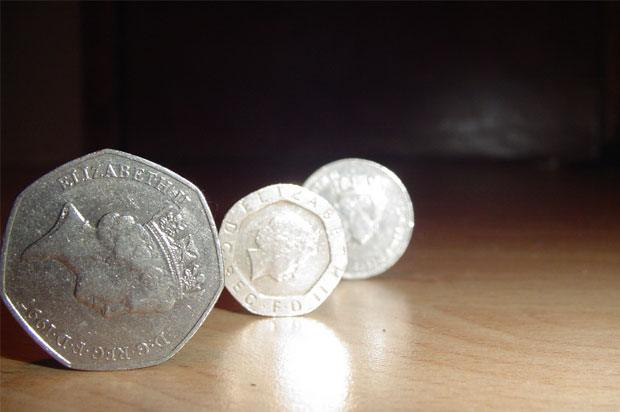 three coins on their sides