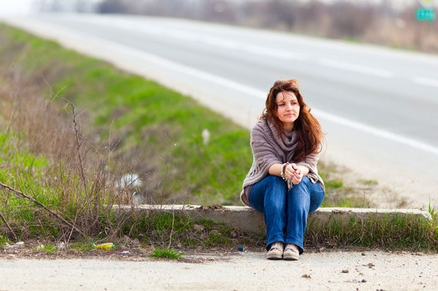 girl by road