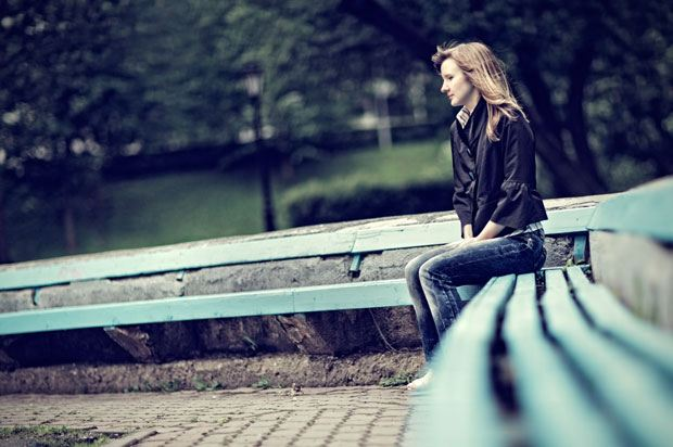 sad girl on bench