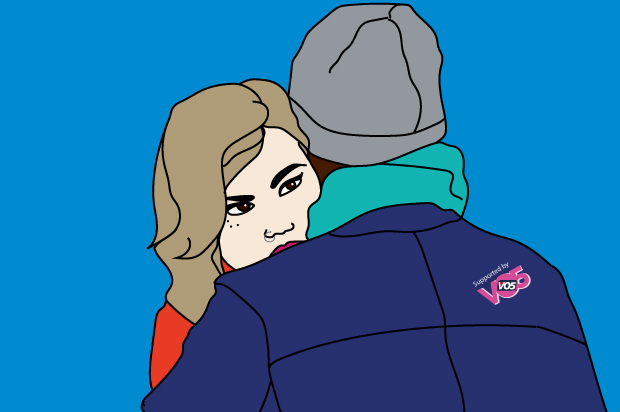 illustration of girl cuddling man but her eyes are looking into the distance.