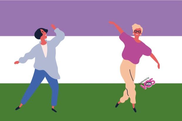 The genderqueer flag ( purple white and green ) in the background. In the front an illustration of two gender neautral people posing