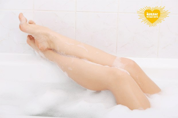 legs out on side of bath