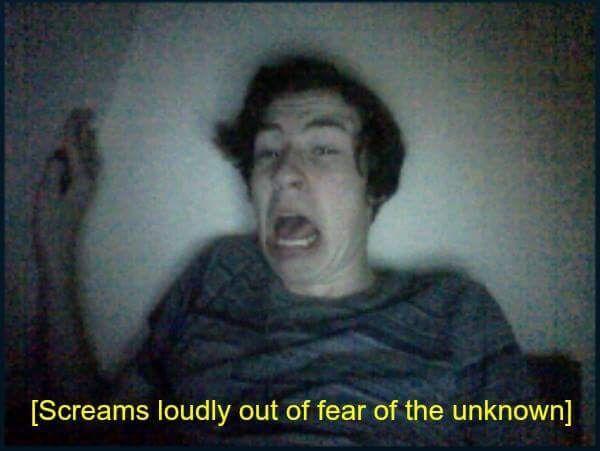 screaming guy in dark