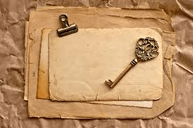 vintage key and old paper