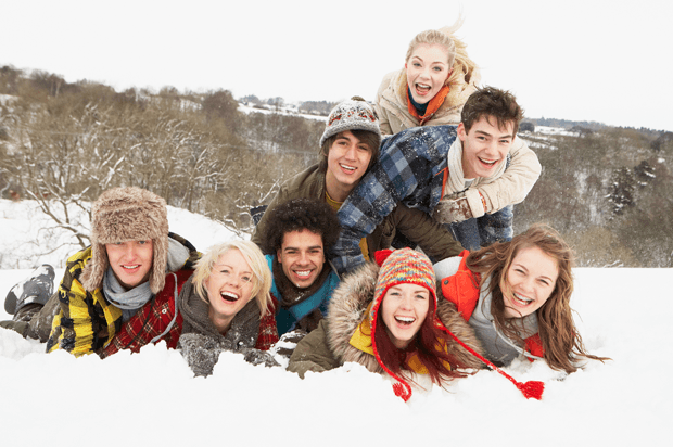 Group Of Teenage Friends in the snow