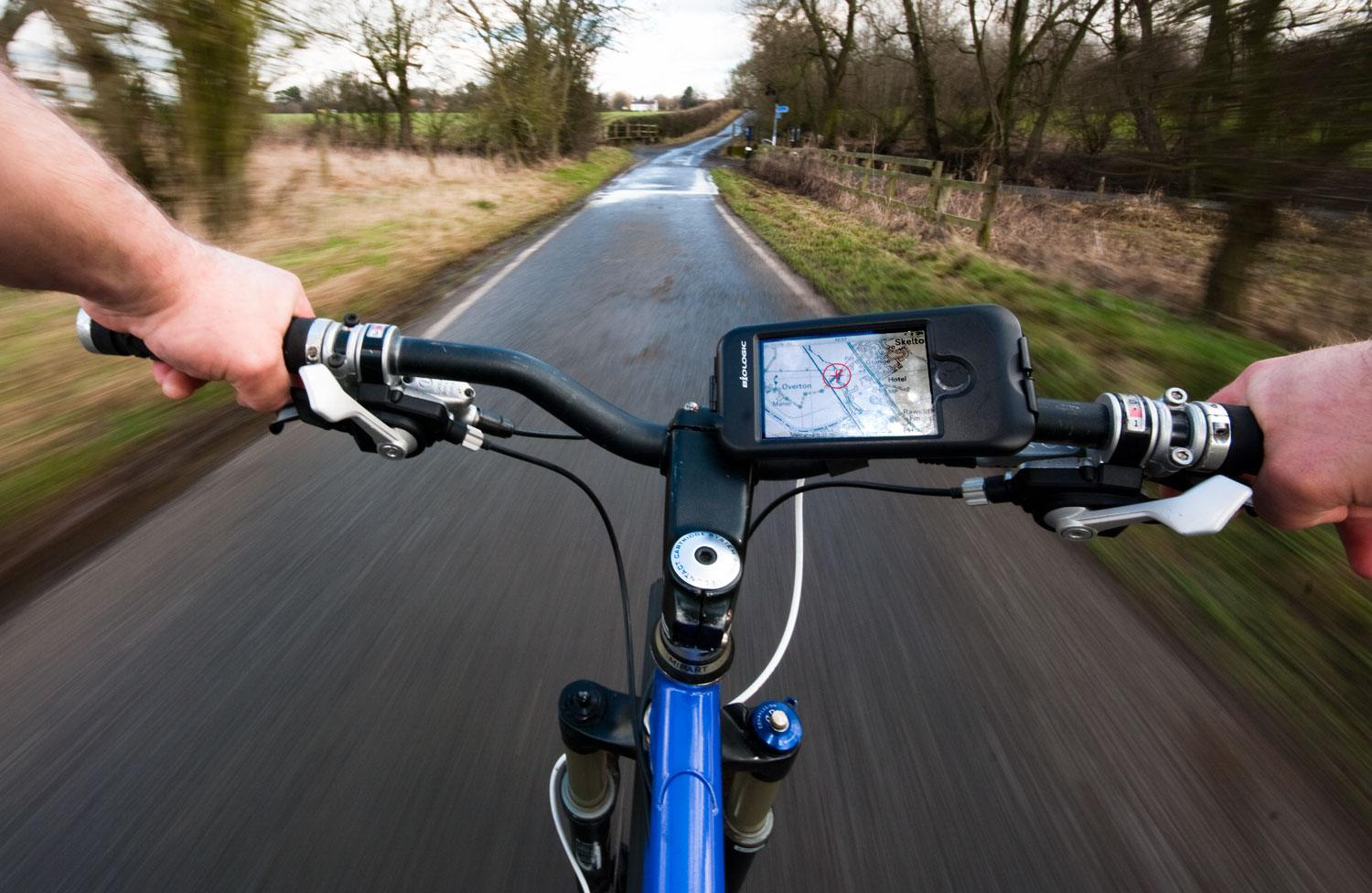 point of view shot of handlebars riding a bike