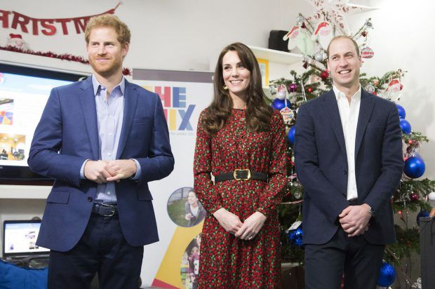 TRH The Duke and Duchess of Cambridge and Prince Harry attend The Mix's Christmas Volunteer Party