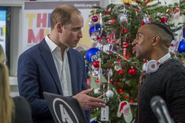 HRH The Duke of Cambridge talks to AJ King, one of The Mix's supporters