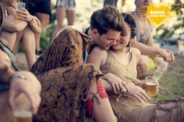 couple cuddling at a festival