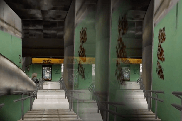 Tube station scene from Rochelle's VR therapy