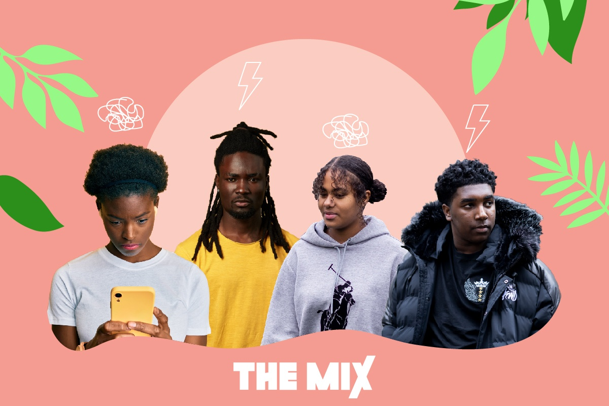 Four young Black people are standing against a pink background. One of them is on their phone looking for mental health support.