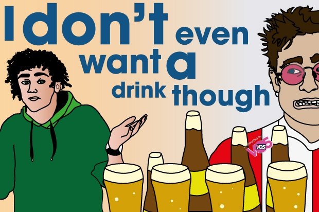 "Illustration of a boy with his hands up to another guy who has bought a round of drinks with the words in the back reading "" I don't even want a drink though"""