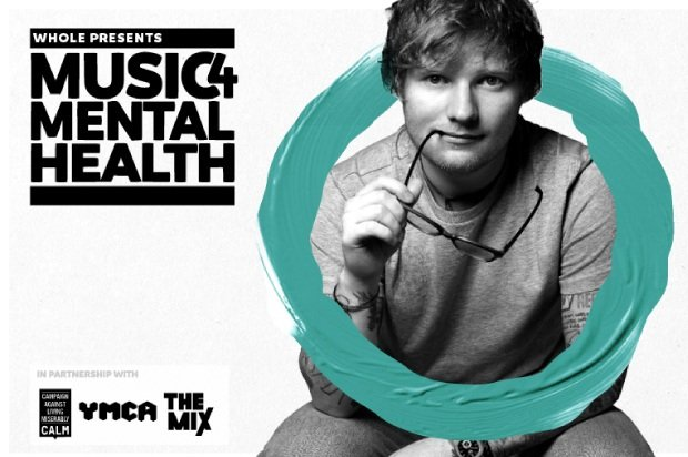 Ed Sheeran smiling and promoting Music 4 Mental Health