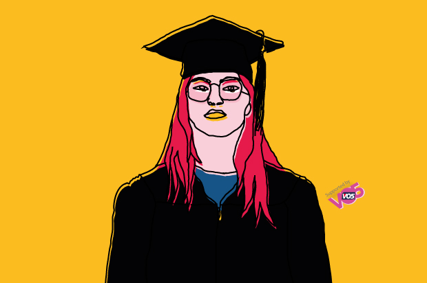 Illustration of a girl in her graduation cloak and hat just looking into the distance with no emotion on her face