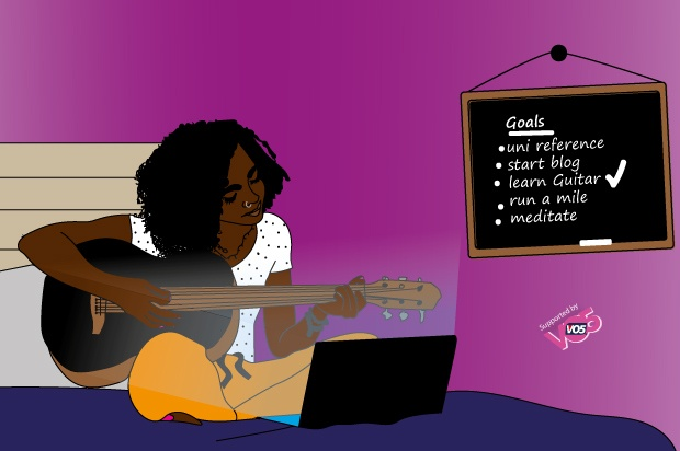 Illustration of a girl with a spotted top on a and yellow trousers on her bed learning to play the guitar