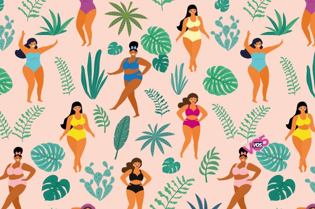 Illustration of shapely women posing in a pattern form