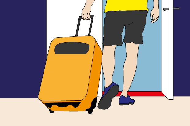 Illustration shows the lower half of someone wearing grey shorts wheeling a suitcase