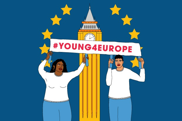 "An illustration of two young people in front of Big be, holding a sign that says ""Young4Europe"""