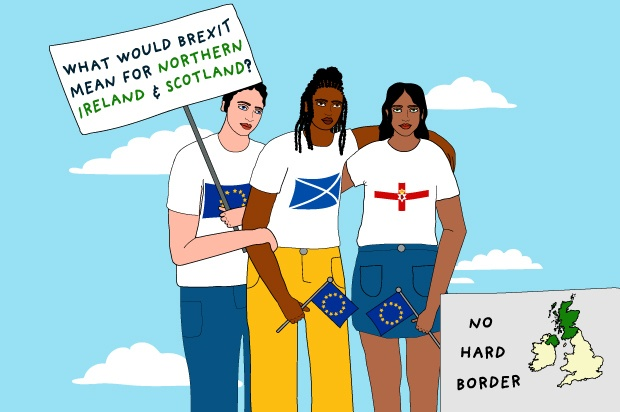 "An illustration of three young people standing in a row. One is holding a sign that says ""What would Brexit mean for Northern Ireland and Scotland?"""